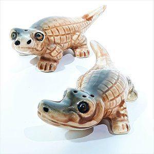 Alligators Ceramic Salt Pepper Vintage 50's Japan